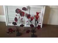 Selection of red ornaments and wall hanging
