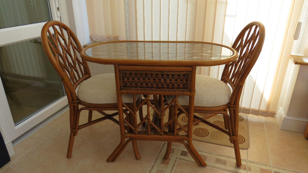 Breakfast Bistro Set Conservatory Table Chairs Cane Wicker Glass Top