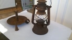 Very Old Oil Lamp and Candle Holder