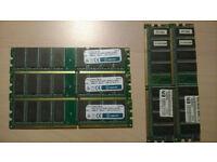 4 GB BUNDLE RAM - 3 X 1GB MATCHED PC2100 - 2 X 512MB MATCHED DDR266