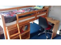 MIDI SLEEPER CHILDS BED pine with matching bookcase and desk