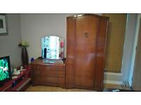 Vintage Wardrobe and Mirrored Chest of Drawers
