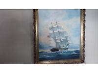sailing ship in oil