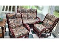 CONSERVATORY FURNITURE MAHOGANY EFFECT CANE 3 PIECE