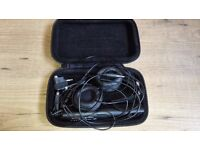 Sennheiser PXC300 headband headphones with carry case and adapters