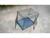 """Ellie-Bo Dog Puppy Cage Folding 2 Door Crate with Non-Chew Metal Tray Medium 30"""" Black / Excellent"""