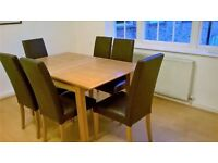 John Lewis extending table light oak & 6 Lydia leatherette dining chairs oak stained- excellent