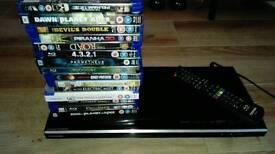 Toshiba smart bluray dvd player with 15 movies.