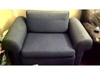 Blue sofa chair bed