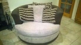 Brown Swivel Cuddler Sofa/chair