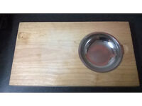 Wooden Chopping Board with Stainless Steel Bowl