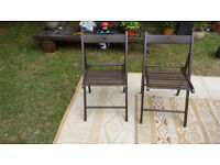 2x wooden folding chairs