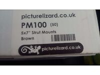 Box of 50 Brown and Gold 5 x 7 strut mounts. Ideal for Wedding, Christening or Parties.