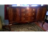 Antique Mahogany Dining Room Serpentine Top Sideboard