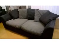 GREY AND BLACK 3+2 SEATER FABRIC SOFA - MUST GO TODAY - CHEAP PRICE - CHEAP DELIVERY - £175