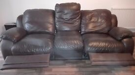 Leather Sofa, Brown, 3 seats, Good Condition,£80. May Deliver