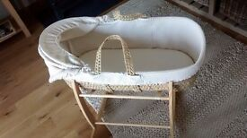 Moses Basket with wooden rocking stand