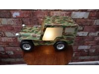 RETRO METAL GLASS LENS VINTAGE U.S. ARMY JEEP BEDSIDE LAMP 14 x 8 x 7 INCH fully working TOYS