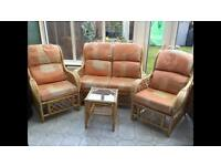 Cane conservatory furniture terracotta living room