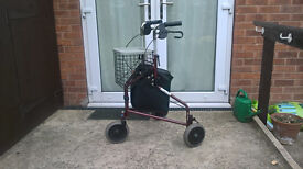 Three Wheel Rollator Walking Aid - with Removable Basket