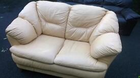 Salmon coloured sofa