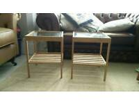 2 ikea small glass top side tables.