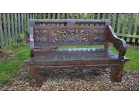 Wooden carved ornate garden bench, BEAUTIFUL