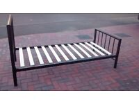 3 Foot wide black metal single bed with timber slats