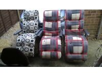 3 Garden loungers with cushions