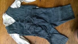 Magnificent Monsoon blue linen boy suit and white shirt from 3-12 months