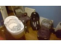 buggy and pram set and moses basket and car seat