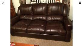 3 x seater Brown leather sofa, 2x seater & armchair