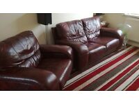 Ox blood red leather 2seat sofa and chair