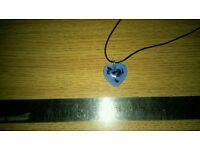 Murano glass heart pendant with cord