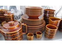 1970's Vintage Hornsea Brown Heirloom Pottery Massive Collection Cups Plates Tea Pot