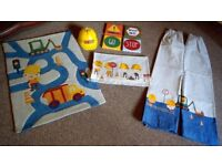Next Children's Bedroom set including rug, light shade, curtains, canvas pictures and bedding.