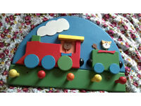 Lovely Children's Wooden Coat Rack with Five Hooks - The Kitten Express Train - Colourful