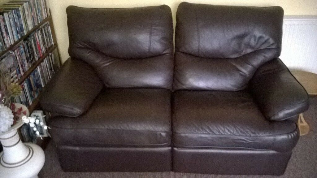 2 Seat Leather Recliner Sofa With Leg Supports