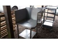 STAINLESS STEEL TWO TIER CORNER TABLE WITH UPSTANDS