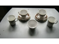 "Two Colclough ""Royale"" Trios, plus 2 mugs and sugar bowl"