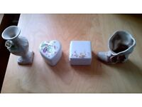 JOBLOT OF 4 UNUSUAL JEWELLERY PORCELAIN TRINKETS