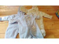 0-3 month boy snow suits x3