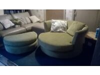 beautiful Elegant Round Sofa Chair and matching footstool