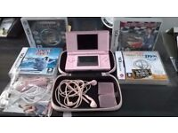 Nintendo DS lite (pink) and 4 games