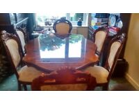 Italian finish carved table n chairs