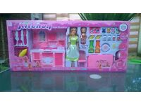 Kitchen plays toy set with sound and 2 dolls