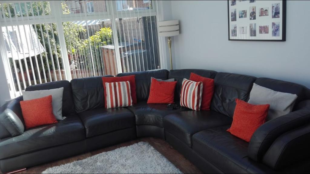 Charcoal Large Leather Corner Sofa