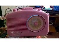 Candy pink Steepletone vintage style radio
