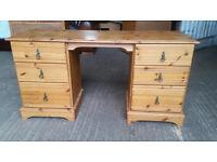 Solid Pine Twin Pedestal Desk