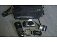 super camera outfit MINOLTA DYNAX 500si - AF28-80 & AF75-300 zoom lenses, case,